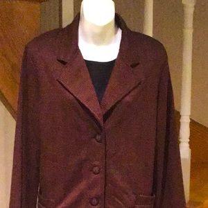 Brown/black houndstooth collared blazer
